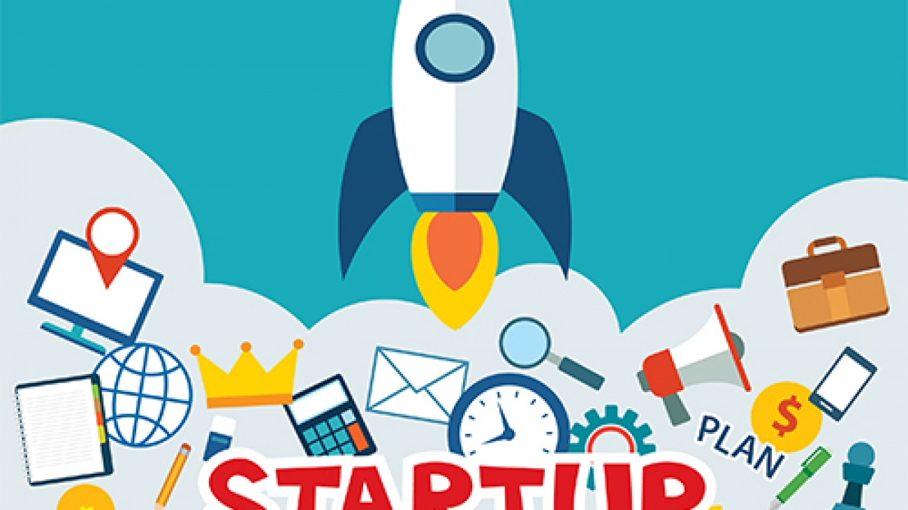 startup new business project with rocket image flat design