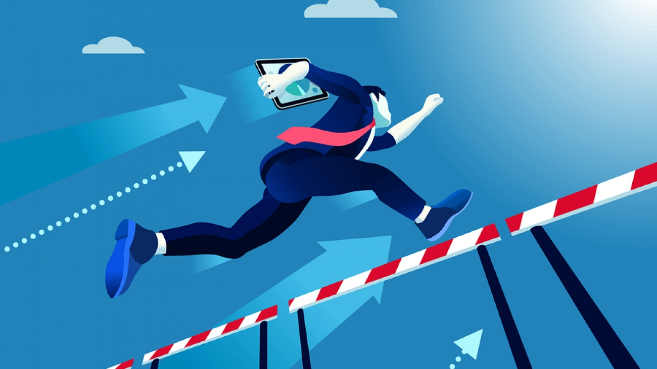 Business man jumping over obstacles a manager race concept. Overcome obstacles concept. Man jumping over obstacles like hurdle race. Business vector illustration.